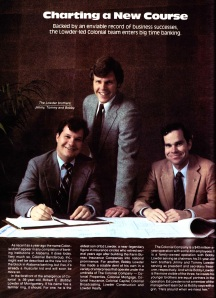 """There is a lot to enjoy about this ad. The pic of the three grinning brothers, looking like they just got away with something; the ad copy, calling the bank a muscular child; the assurance that """"dad"""" lurks in the background. From the May 1982 issue of Alabama Magazine."""