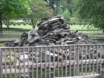 Once known as Monkey Island, this pile of rocks now has no monkeys. Ducks live nearby.