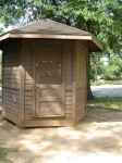 This Shed of Mystery greets visitors with a silent stare. Not pictured: stairs